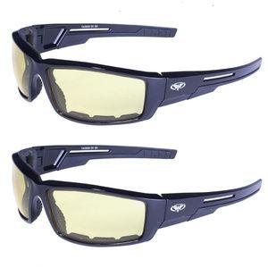 2 Motorcycle Horseback Glasses Both Yellow Padded